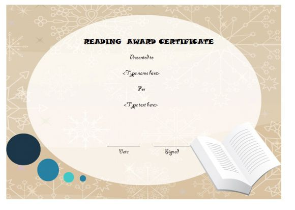 Editable reading award certificate
