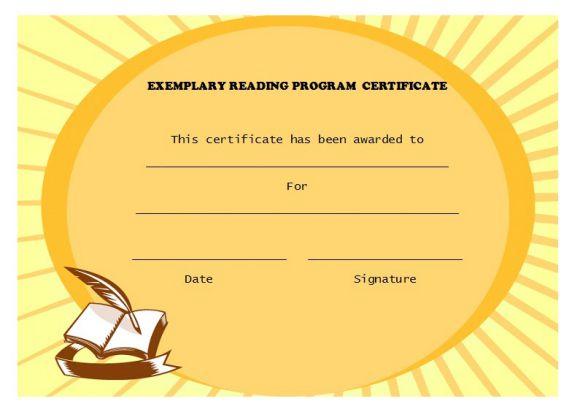 Exemplary reading program award