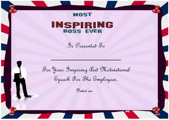 Inspiring boss certificate