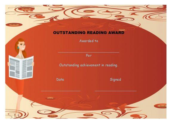 Outstanding reading award