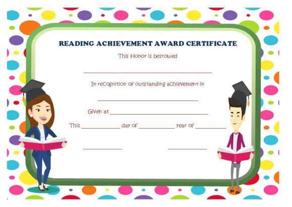 Reading achievement award certificate