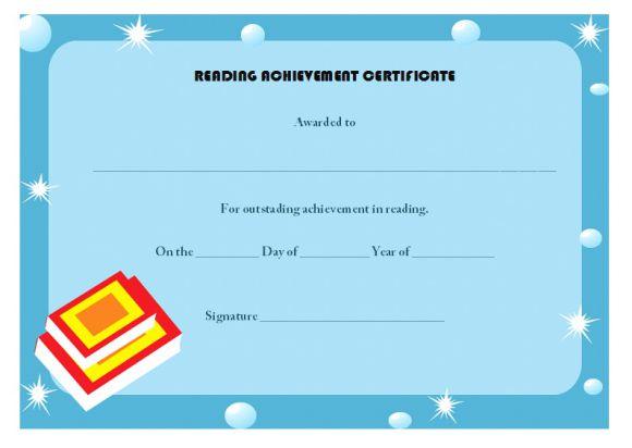 Reading achievement certificate