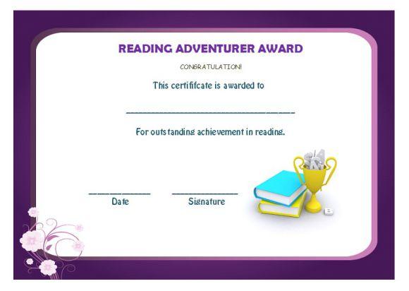 Reading one adventurer award