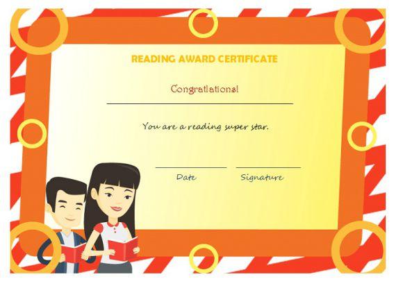 Reading award certificate for student