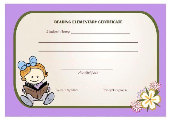 Reading award elementary certificate