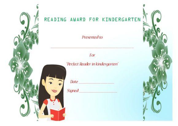 Reading award for kindergarten