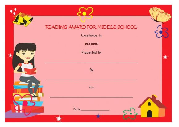 Reading award for middle school