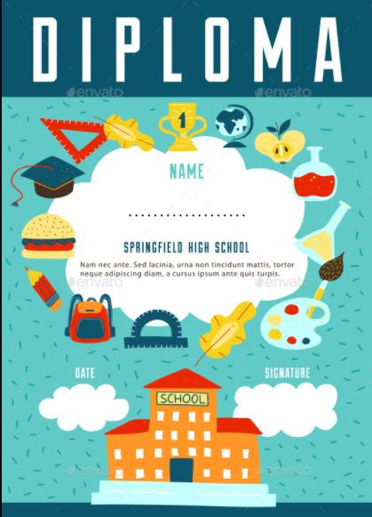 School Diploma Certificate Design