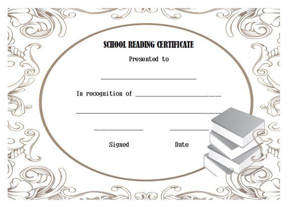 School reading certificate