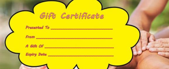 Blank massage gift certificate template