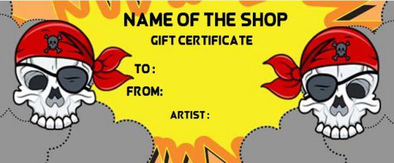 Blank tattoo gift certificate
