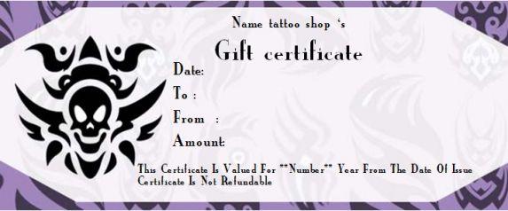 blank tattoo gift certificates