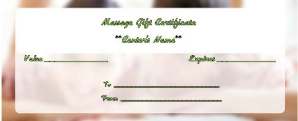 Couples massage gift certificate template