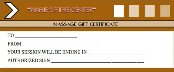 Edible massage gift certificate template