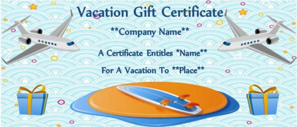flight gift certificate template - Vacation Gift Certificate Template