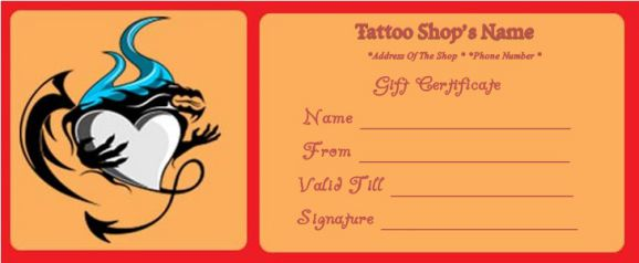 Tattoo Gift Certificate Template : 12+ Free Templates to Boost Your Business - Demplates
