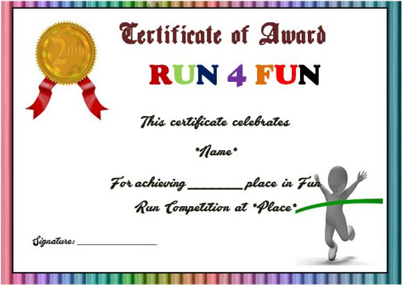 Fun run 2nd place award certificate