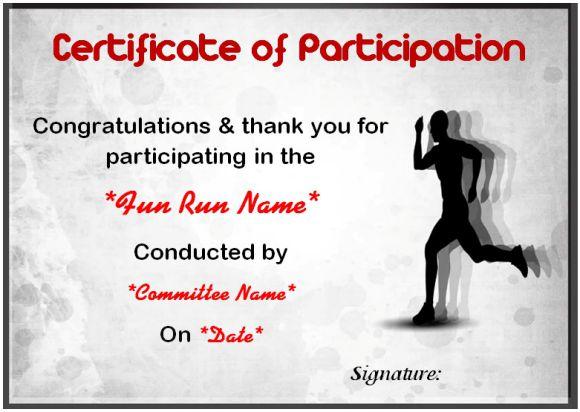 Fun run certificate of participation