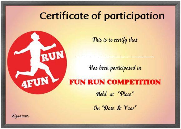Fun run certificate participation