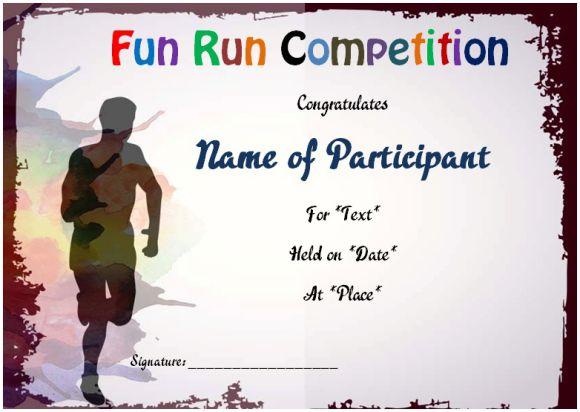 Fun run certificate sample