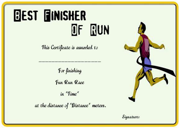 Fun run finisher's certificate
