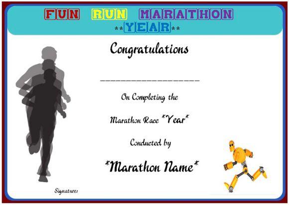 Fun run marathon certificate template