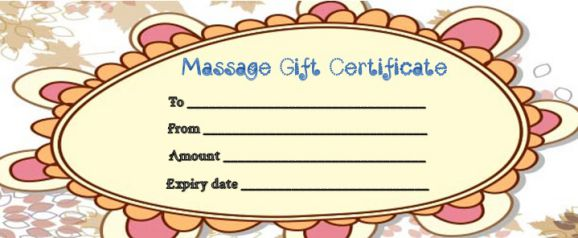 Gift certificate template for a massage