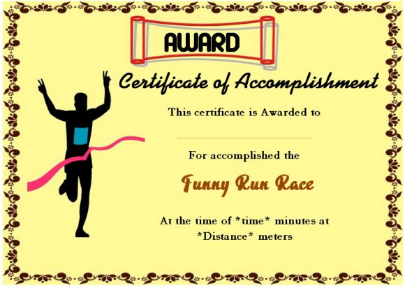 Sample fun run finisher's certificate