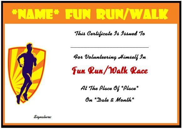 Sample of fun run certificate