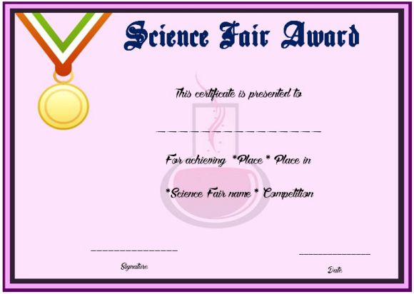 Science fair 2nd place certificate