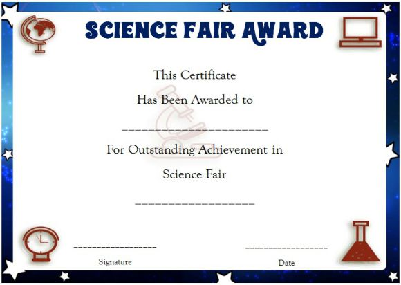 Science Fair Certificates 14 Printable Full Color Certificates