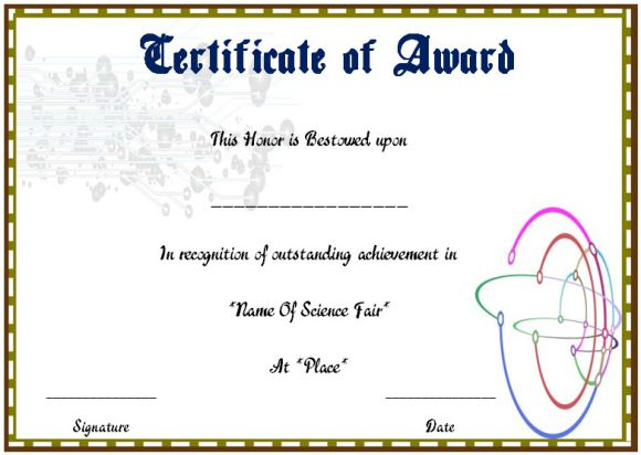 Science fair award certificate