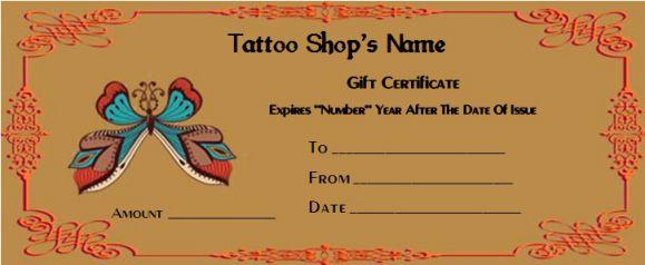 Tattoo gift voucher
