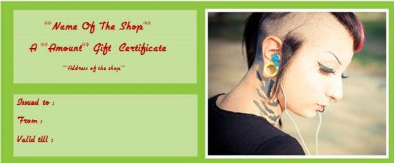 Tattoo shop gift certificate templates