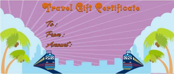Travel gift certificate sample