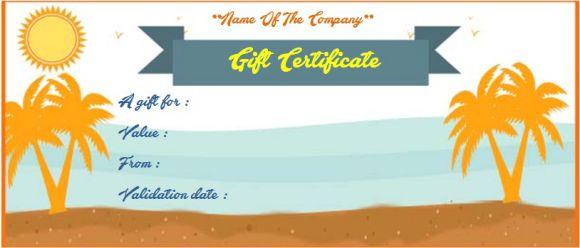 Travel gift certificate samples