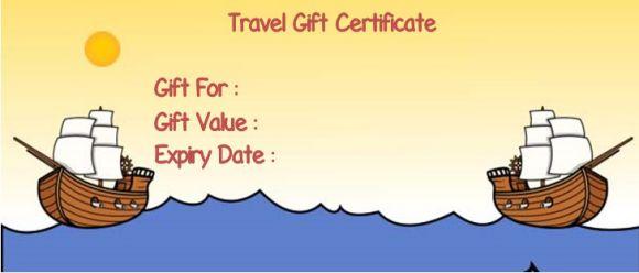 Travel gift vouchers template