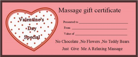 Valentine's day massage gift certificate template