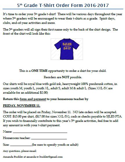 5Th Grade T-Shirt Order Form 1