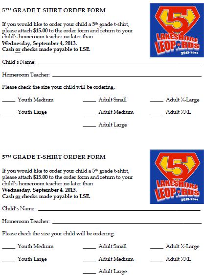 5Th Grade T-Shirt Order Form 2