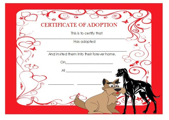 Adoption certificate template dog