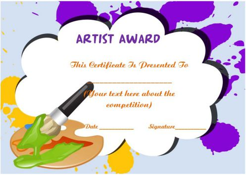 Artist of The Year Certificate Template
