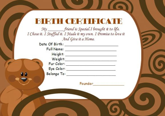 Bear Build birth certificate