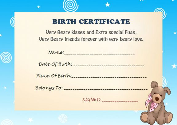 Build a bear birth certificate