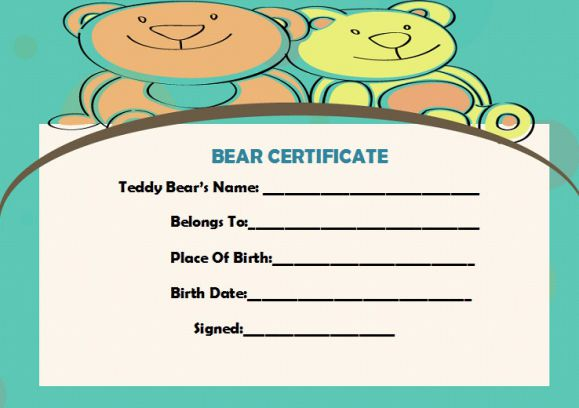 Build a bear certificate