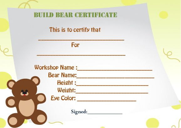 Build a bear certificate template