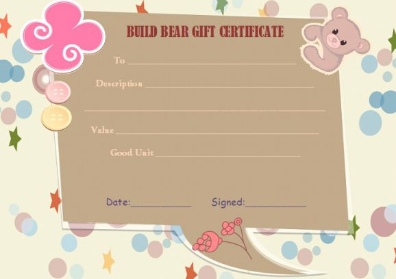 Build a bear gift certificate