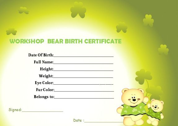 Build a bear workshop birth template certificate