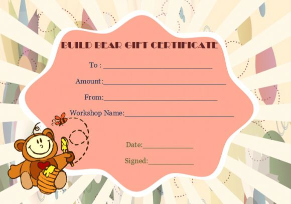 Build bear certificate gift