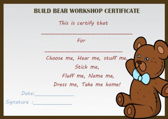 Build bear workshop certificate